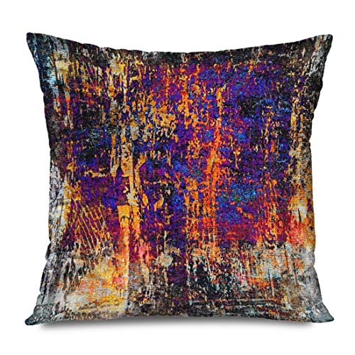 Ahawoso Throw Pillow Cover Square 18x18 Inch Border Frame Abstract Messy Colorful Color Creative Dirty Graffiti Design Grungy Material Textured Decorative Pillowcase Home Decor Pillow Cushion Case
