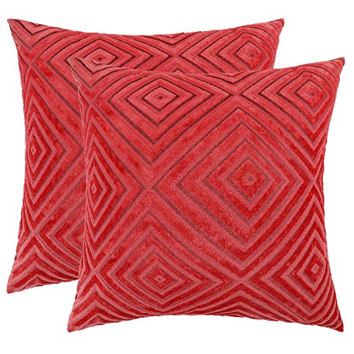 ljarl ChristmasNew Year Decorations Soft Velvet Throw Pillow Covers for Bed Couch Sofa Red Square Textured Decorative Pillows Cushion Covers 18 x 18 inches Set of 2 Red