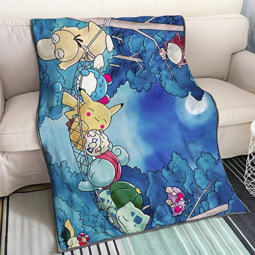 KaiWenLi Pokemon - Pokemon Sleeping at NightCartoon Anime BlanketSingle-Sided Printing PatternSoft and ComfortableEasy to CleanWinter BeddingSuitable for Adults Children and Otaku