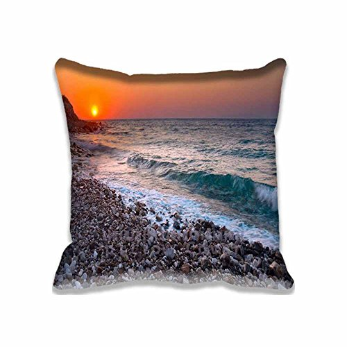 Orange Sunset Light And Blue Wave Decorative Cushion Covers Sofa Chair Seat Throw Pillow Case Square 18x18 Inch For Throw Pillow Cover