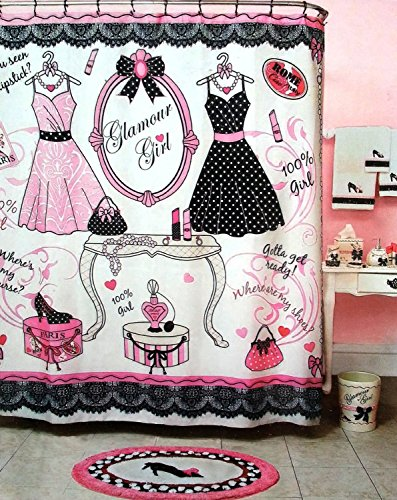 Glamour Girl Pink Black White Shower Curtain - Fashion Icon Dresses Shoes Purses and GLAM - 70 X 72