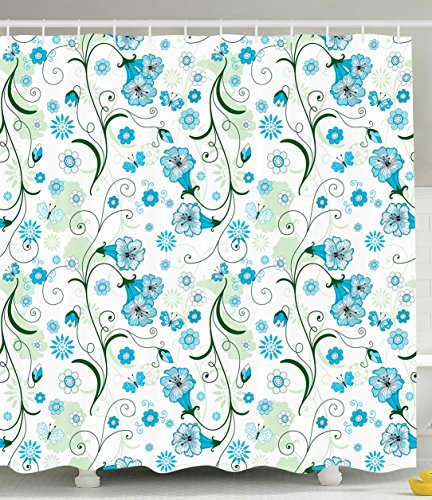 Teal Shower Curtain Butterfly Decorations by Ambesonne Spring Summer Butterflies Daisies Hearts Pattern Art Print Theme Fabric Bathroom Shower Curtain Set Green Blue and White