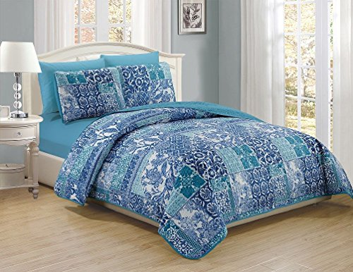 6 Piece Navy Teal White Mandala Pattern Reversible Bedspread Quilt with Sheet Set Cal king