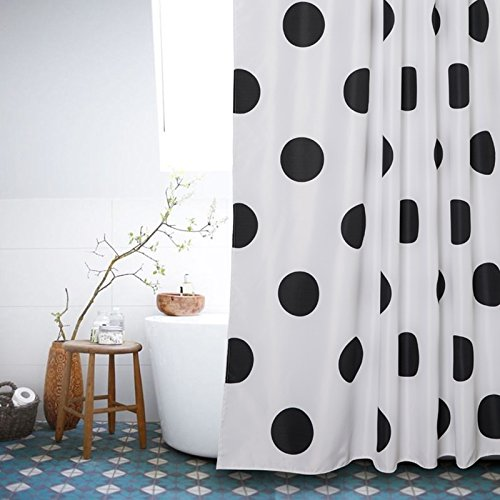 Polka Dot Washable Fabric Shower Curtain Mold Resistant Black and White72 X 72in