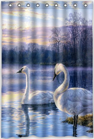 48x72 Inches Swan Lake Sunset Landscape Shower Curtain New Waterproof Polyester Fabric Bath Curtain  Shower Rings Included