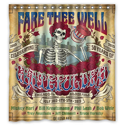 Rock Band Grateful Dead High Quality Fabric Bathroom Shower Curtain 66 x 72 Inches