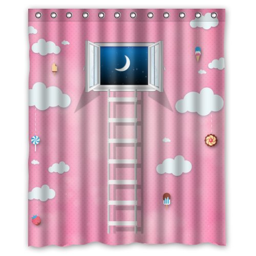 Cute Cartoon For Girls Pink World With Window Clouds And Candys Shower Curtain 60x72 New Waterproof Polyester Fabric Curtain