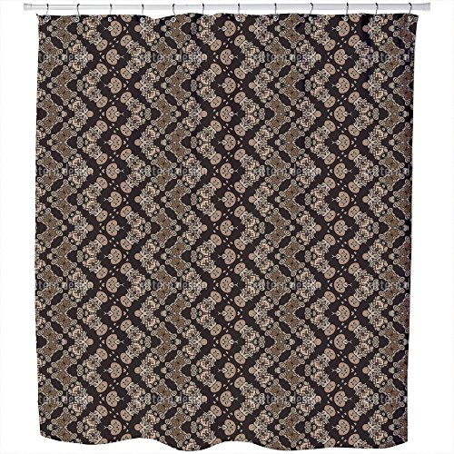 Noble Zigzag Shower Curtain Small Waterproof Luxurious Bathroom Design Woven Fabric