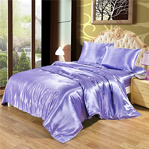 Dometool Color Silk Like Bedding Set Luxury Silky Satin Duvet Cover Flat Sheet Pillowcases SetTwin