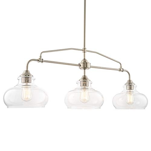Kira Home Harlow 375 Modern Industrial FarmhouseSchoolhouse 3-Light Island Light with Clear Glass Shades Adjustable Hanging Height Brushed Nickel Finish