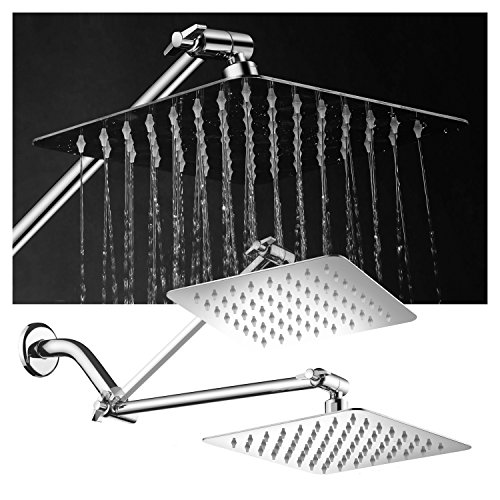 HotelSpa Large 8 inch Stainless Steel Slimline Square Rainfall Showerhead with Solid Brass Adjustable Extension Arm