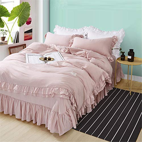 MooWoo Ruffle Duvet Cover Set Soft and Breathable Washed Microfiber 3pcs Bedding Set Shabby Chic Farmhouse Duvet Cover and Pillow Shams Zipper Closure Corner Ties Simple Easy Care - King Pink