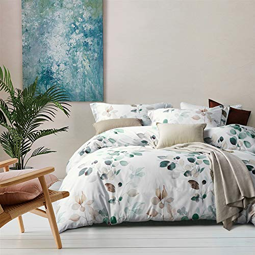 MILDLY White Floral Duvet Cover 3 Pieces Set Leaf Pattern Printed Soft Cotton Comforter Cover with 2 Pillow Shams Queen Size Able