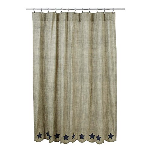 VHC Brands 29222 Vincent Scalloped Shower Curtain 72x72