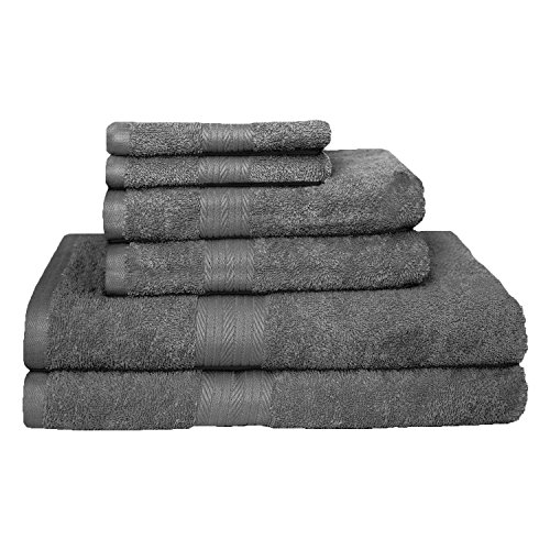StoryHome Premium Blended Egyptian Cotton 6 Pcs Towel Set - 2 X Bath Towels  2 X Hand Towels  2 X Wash Cloths-GREY