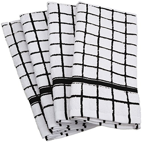 DII Cotton Terry Windowpane Dish Towels 16 x 26 Set of 4 Machine Washable and Ultra Absorbent Kitchen Bar Towels-Black