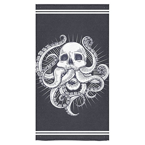 InterestPrint Octopus Kraken Tentacle Black and White Skull Beach Bath Towels Bathroom Body Shower Towel Bath Wrap For Home Outdoor and Travel Use 30 x 56 Inche