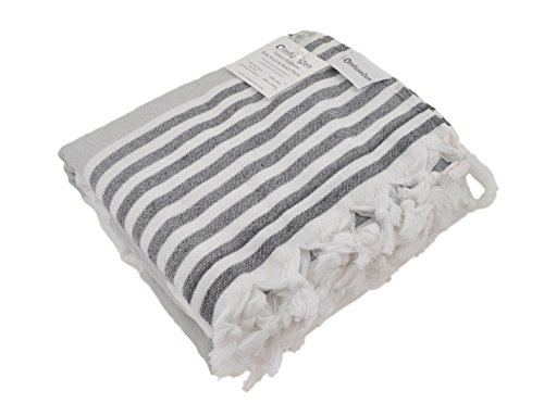 Oversized Turkish Towel Soft Terry Cloth Back Striped Turkish Bath Towel Beach Towel Extra Large Peshtemal Bath Sheet for Plus Size Nautical Style Thin Hammam Towel Cotton Fouta GREY BLACK