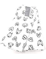 Set of 2 Decorative Ultra Absorbent Kitchen Towels Assorted Dogs Outlined  Blackwhite  100 Cotton 18 x 28