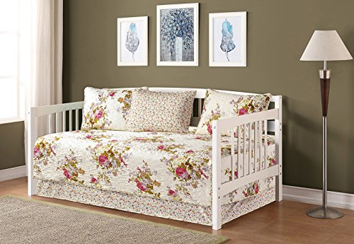 Mk Collection 5pc Day Bed Quilted Bedspread Set Flowers Off White Green Pink Purple New