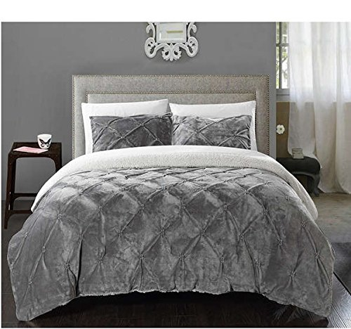 3 Piece King Sage Grey Pinch Pleated Ruffled Pintuck Comforter Set Stylish Luxury Bedding Sherpa Lined Design Light Silver White Pinched Pleat Pintucks Diamond Tufted Puckered Textured Modern