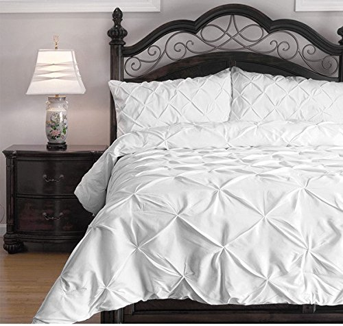 3 Piece Pearl White Pinch Pleat Comforter King Set White Adult Bedding Master Bedroom Stylish Solid Color Textured Pattern Elegant Themed Traditional Microfiber Polyester