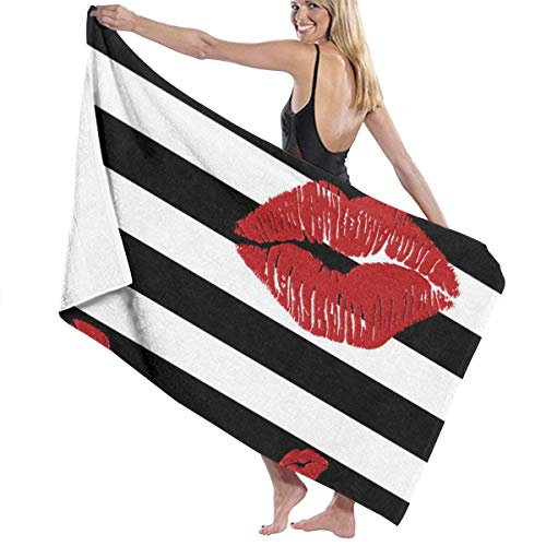 Premium Bath Towels Wash Cloths for Home Hotel Spa Pool - Sexy Red Lips Black White Stripes Towels Ultra Soft Shower Bath Towel Extra Large Ultra Absorbent Womens Wrap