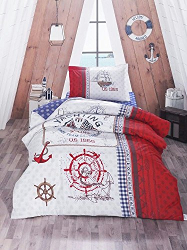 Bekata Yachting Duvet Cover Set - Nautical Bedding Set - Anchors Compass Vintage Ship Helm and American Flag Themed 100 Cotton SingleTwin Size BLUE RED WHITE 3 PCS