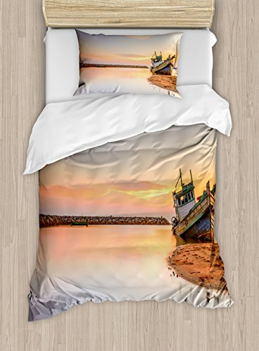 Nautical Duvet Cover Set by Ambesonne Vessel on Coast Long Exposure Dramatic Sunset Photo Solitude Lonely Twilight Theme 2 Piece Bedding Set with Pillow Sham Twin  Twin XL Blue Peach