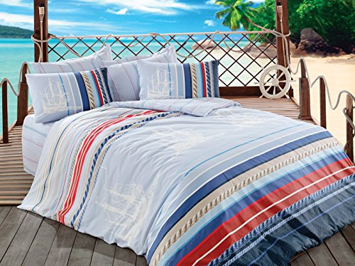 Orsa Perfect Design Nautical Bedding Set 100 Cotton QuiltDuvet Cover Set Vintage Ships Sailing Boats Themed Blue 4 PCS FullQueen Size