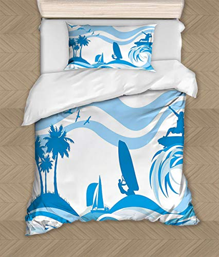 Aquatic Surfer on Waves Comforter Cover Water Sports Recreation Palms Sea Sailboats Summertime Holiday Silky Soft Bedding Collection 53 W x 78 L Blue Light Blue