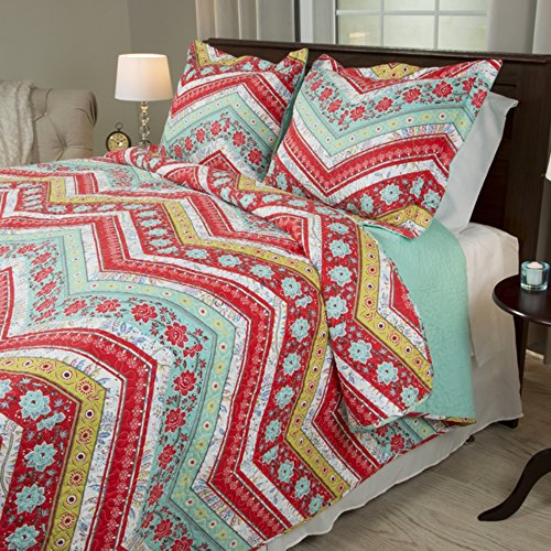 2 Piece Girl Rainbow Floral Chevron Theme Quilt Twin Set Pretty Girly Vibrant Flower Zigzag Bedding Beautiful Horizontal Zig Zag Flowers Themed Pattern Red Pink Light Teal Blue Green White