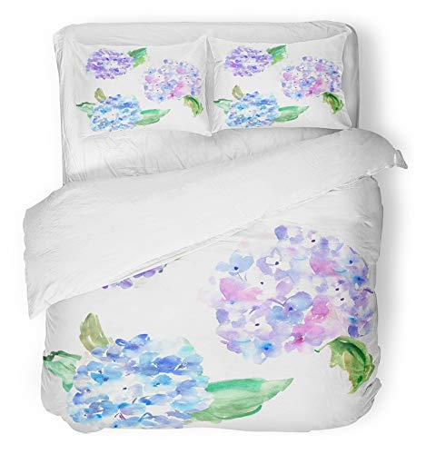 Emvency 3 Piece Duvet Cover Set Breathable Brushed Microfiber Fabric Floral Watercolor Hydrangeas in Purple and Blue Flowers Bedding Set with 2 Pillow Covers Twin Size