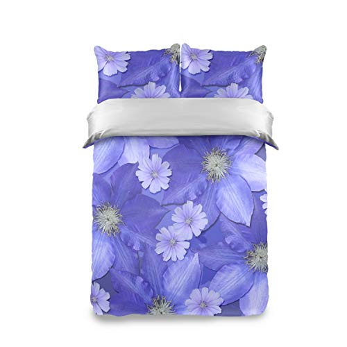 FCZ 3 Pieces Kids Peach Skin Velvet Duvet Cover Set Blue Flowers Bedding Sets for Girls Boys Children Teens Twin