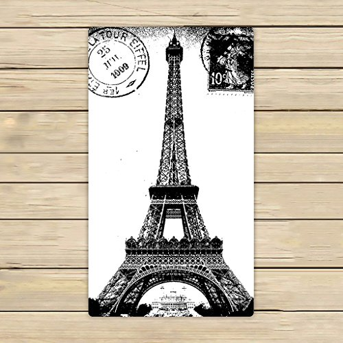 Custom Frech Paris Eiffel Tower City of Love Black White Hand TowelSpa TowelBeach Bath TowelsBathroom Body Shower Towel Bath Wrap Size 16x28 inches