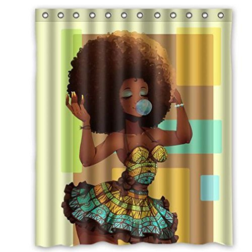 M&M Mymoon Shower Curtain Waterproof Black Girl Shower Curtains Set for Bathroom 60W X 72H