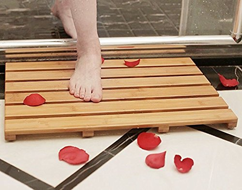Eanpet Bamboo Bath Mat Shower Floor Mat Made of 100 Natural Bamboo with Non Slip Feet Natural Mildew Resistance for a Hotel Bathmat Wood Bathroom Accessories Wooden Shower Mat Bathtub