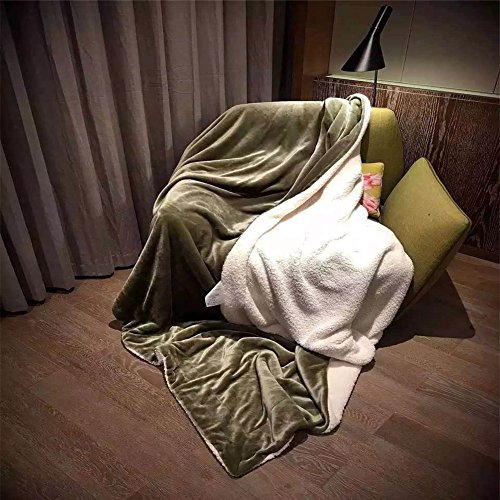 CocoQueen Super Soft Cashmere Throw Blanket Cozy Warm Quilt Bed sheet Twin Size Olive Green