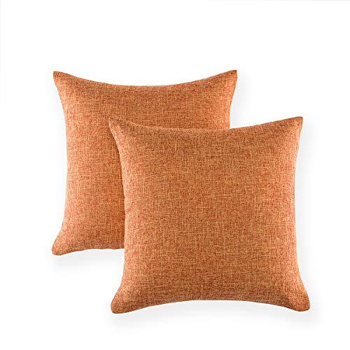 Xinrjojo Pack of 2 Cushion Covers Throw Pillow Cases Modern Solid Color Decorative Cushion Cover for Fall Farmhouse Home Decor 18 X 18 Inches- Orange