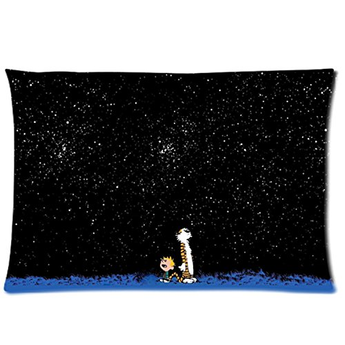 Custom Calvin And Hobbes Zippered Pillowcase Covers Standard Size 20x30 Inch Two sides