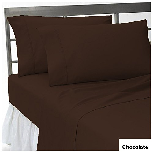 100 Pima Cotton 3 PCs Fitted Sheet Set 16 inch Deep Pocket 800 TC Solid Pattern Size King Color Chocolate