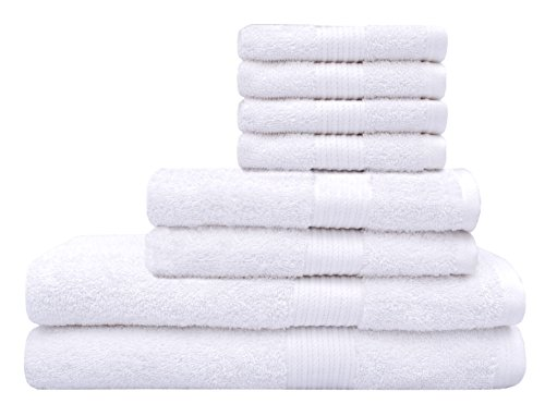 Tex Trend Premium Soft 8 Piece 600 GSM Towel Set White - 100 Egyptian Cotton - Easy Care Super Absorbent Hotel Quality Long-staple Combed Cotton - 2 Bath Towels 2 Hand Towels and 4 Washcloths