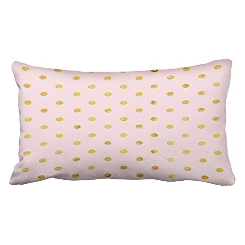 Tarolo Decorative Personalized Cotton Pillowcases Stylish Chic Girly Blush Pink And Gold Polka Dots Throw Pillow Covers Size 20x36 inches51x92cm One Sided