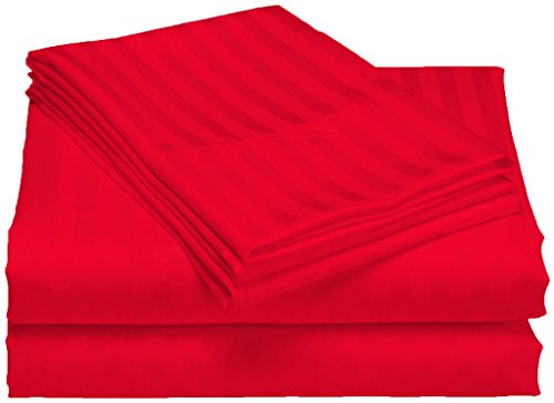 100 Egyptian Cotton 300 TC 20 Inch Deep Pocket Sheet Set - Twin XL Red Stripe