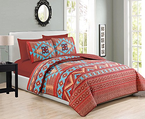 Western Southwestern Native American Tribal Navajo Design 6 Piece Multicolor Turquoise red Orange Brown Bedspread Quilt with Sheet Set Queen