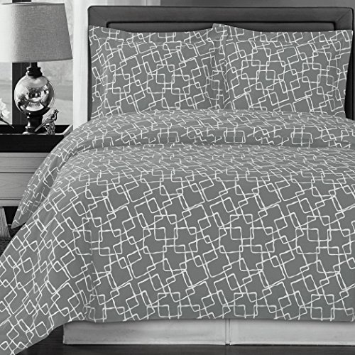 Modern Duvet Cover KingCal King Gray Grey White Print Geometric Link Pattern 100 Egyptian Cotton 3 Piece Reversible Bedding and Shams Pillowcases Set