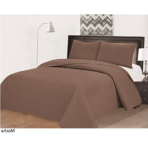 3 Piece Chocolate Brown Medallion Embossed Bedspread King Cal Set Beautiful All Over Geometric Flower Textured Bedding Chic Solid Color Multi Floral Texture Themed Pattern Mocha Espresso Coffee Bean