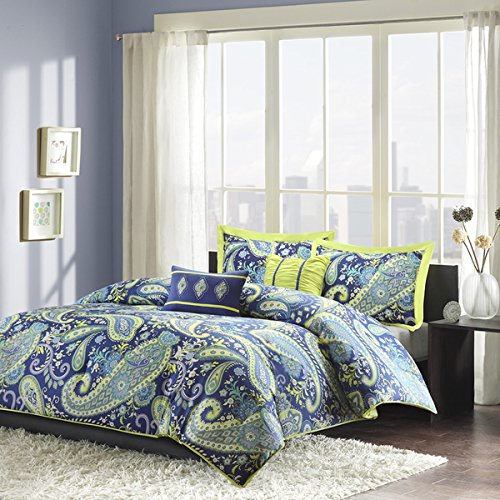 Modern Teen Girls Comforter Bedding Set with Blue and White Paisley Print with Lime Green Accents fullqueen