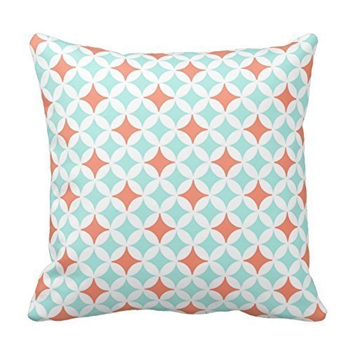 Coral And Aqua Circles Pattern Throw Pillow Case Cushion Cover Square Decorative 18X18 Inches Two Sides