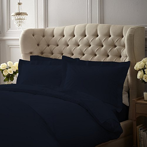 1000 Thread Count Luxurious and Hypoallergenic 100 Egyptian Cotton Duvet Cover Navy Blue Twin XL with Zipper Closure By Serene Linens Solid